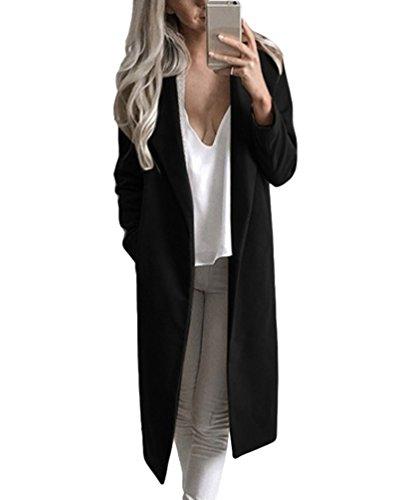 Nero Lunga Cappotto Sentao Elegante Lungo Trench Parka Manica Invernale Giacca Donna Blazer Outwear OAAqH4