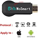 Wifi Display Dongle, 5G+2.4G Wireless HDMI Dongle, 1080P Airplay Dongle Digital AV Receiver to HDMI Connector for iOS/Android/iPhone/iPad/Samsung, Support DLNA/Airplay Mirror/Miracast(not for laptop)