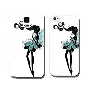 Silhouette of a fairy with pink flower cell phone cover case iPhone6