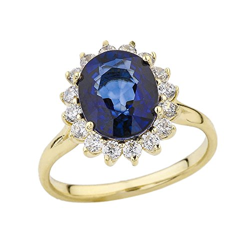 Elegant CZ Princess Diana Inspired Engagement Ring with September Birthstone in 10k Yellow Gold (Size 7)