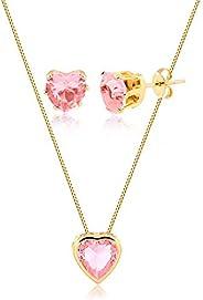 Conjunto de colar e brincos de coração c/pedra rosa claro folheado em ouro