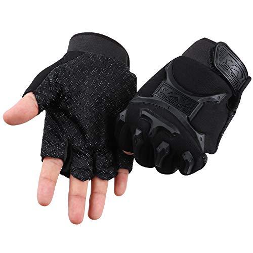 ACVCY Fingerless Gloves for Men Women,Non-Slip Classic Fingerless Cycling Gloves Finger Mountain Bike Bicycle Riding Outdoor Gloves (Black) ()