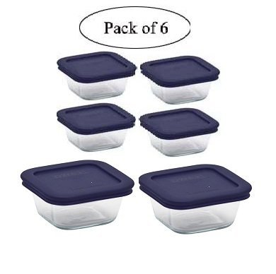 Pyrex Square Glass Food Storage Containers set with Dark Blue Plastic Cover, Use For Storage Food , Baking Dish, And Lunch Box ( 2-4cup in 4-1cup with Blue Lids) (6, 2-4cup in 4-1cup)