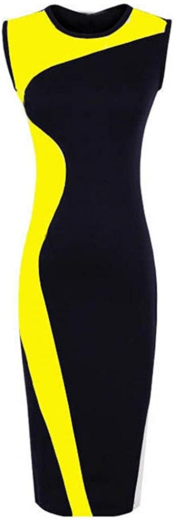 Goldensat Women Sleeveless Bodycon Dress Yellow Black
