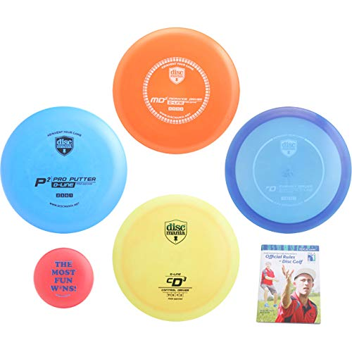 Distance Markers Fairway - Discmania Complete Disc Golf Variety Gift Set - Distance, Fairway, Mid-Range & Putter + Mini Marker Disc, Rules (6 Items, Colors May Vary) (4 Discs (Distance, Fairway, mid-Range, Putter, Extras))
