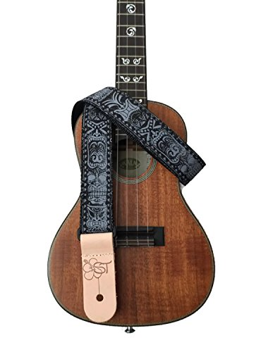 sherrins-threads-15-hawaiian-print-ukulele-strap-black-tiki