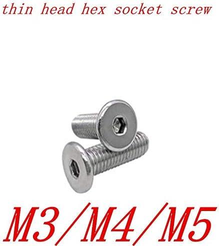 Panel Screws 10-50PCS//lot CM M2 m2.5 M3 M4 M5 M6 stainless steel Hex Hexagon Socket Ultra Thin Super Low Flat Wafer Head Allen Cap Screw Nails Color : 5mm, Size : M4 10PCS Fasteners