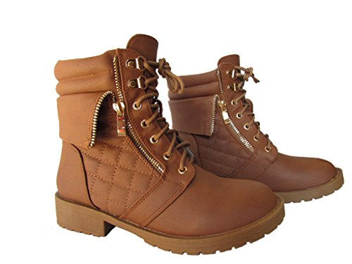 MODA Plus-1 Womens Patent Leather Military Quilted Combat Boots Tan TaGkZwqVr