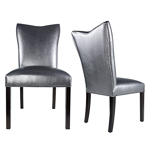 Sole Designs The Bella Collection Modern Style Vinyl Upholstered Armless Dining Side Chairs (Set of 2), (Bella Dining Chair)