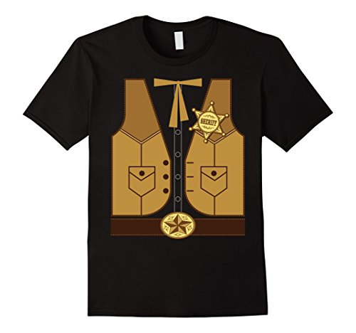Men's Western Cowboy Sheriff Costume T-Shirt Large Black (Mens Cowboy Costume Tshirt)