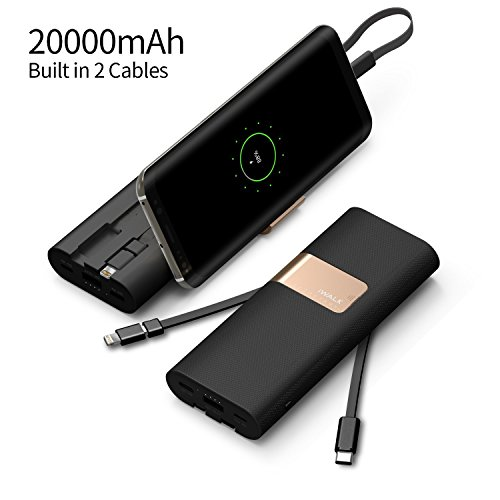 iWalk 20000mAh Power Bank Quick Charge QC3.0/2.0 Built-in Lightning Type-C & Micro USB Cables Portable External Battery Pack Charger,for iPhone X 8 7 6 5s Plus SE ipad,Samsung S9/S8/S7 Switch Macbook and More (Black)