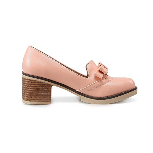 AgooLar Damen Ziehen auf Rund Zehe Mittler Absatz PU Rein Pumps Schuhe Pink