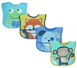 Lovespun Baby Bibs Boys 4 Pack - Waterproof Burp Cloth One Size, Animal Prints
