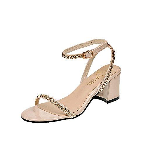 Femmes Parti Mode Rose Chaussures Talons Cheville Uk La À Beige Rivet Qiusa Métal Rond Bride 3 Bout Soldes coloré Sandales Taille wEtqSSR5