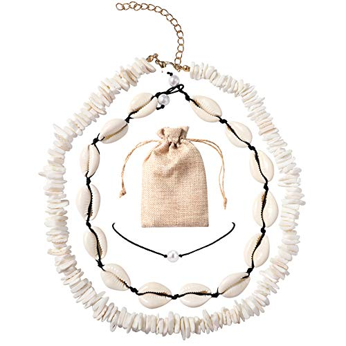 Shell Choker Necklace for Women Girls, Adjustable Puka Cowire Sea Shell Choker Necklace Set