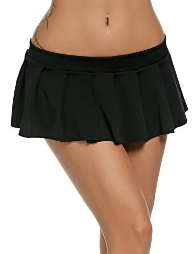 Goldenfox Plus Size Role Play Mini Pleated Skirt Women Schoolgirl Nighties (Black, XXL)]()