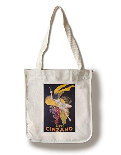 Cinzano Framed - Lantern Press Cinzano, Asti Girl with Grapes (Artist: Cappiello, Leonetto) France - Vintage Advertisement (100% Cotton Tote Bag - Reusable)