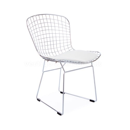 Set of 6 Bertoia Style Wire Side Dining Chair - White Seat Pad (Ebay Bar Furniture)