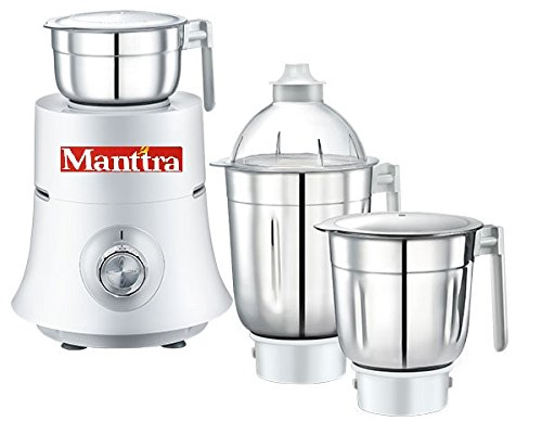 prestige manttra teon star 120v new powerful 750w mixer grinder big 3  stainless steel jars for grinding and juicing, white (750 watt, white)