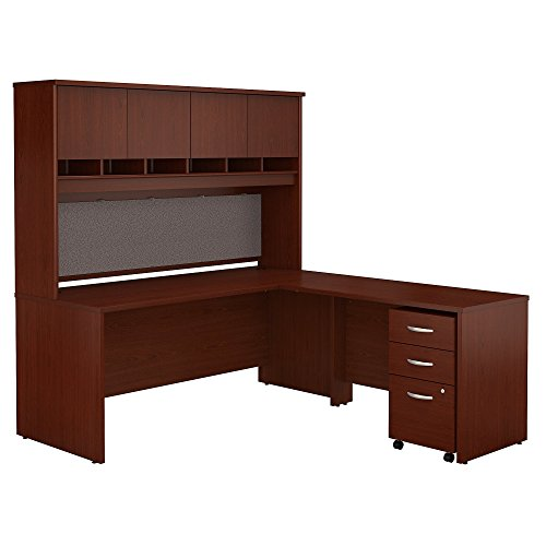 (Bush Business Furniture Series C 72W L Shaped Desk with Hutch and Mobile File Cabinet in)