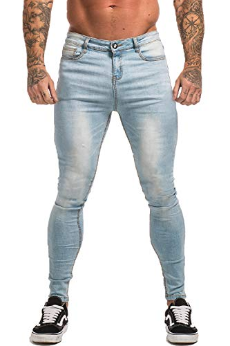 GINGTTO Skinny Jeans for Men Stretch Slim Fit Ripped Distressed 34 Ice Blue Denim