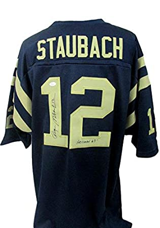 433deda52cb Image Unavailable. Image not available for. Color: Roger Staubach Navy 1963  Heisman Winner Signed Adidas Jersey JSA 139560