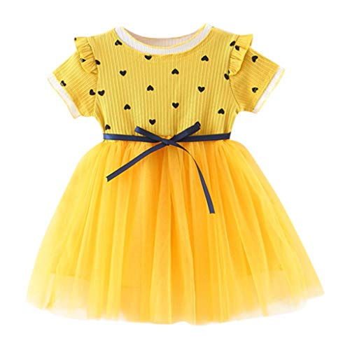 (RAINED-Toddler Baby Girls Princess Dress Dot Tulle Tutu Skirt Ruched Patchwork Lace Party Clothes Yellow)
