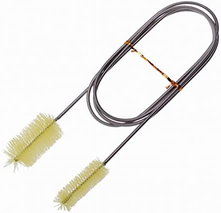 【Rurumi】ステンレス 製 パイプ 配管 ホース クリーナー ブラシ フレキシブル 柔軟 ワイヤーブラシ 水槽 掃除 清掃 (イエロー)