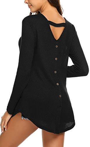 iors Sweaters Open Back Button Down Pullover Tunics Shirts Tops Black S ()