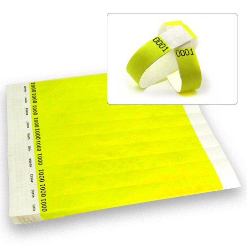 Neon Yellow Dup # -Wristco 3/4 Tyvek Wristbands - 500 Ct.