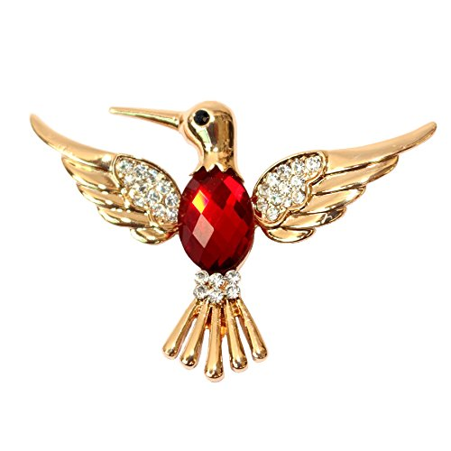 Navachi 18k Gold Plated Red Crystal Bird Hummingbird Brooch -