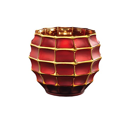 - Fifth Avenue Crystal Facet Red & Gold Votive