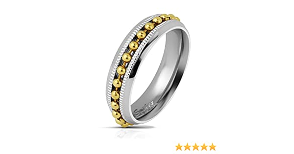 Jinique STR-0563 Stainless Steel Gold IP Bead Chain Centered on Diacut Edge Channel Two-Tone Ring