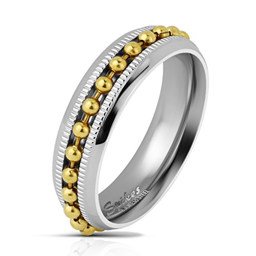 S&H JEWELRY Gold Bead Chain Spinner Centered on Diacut Edge Channel Two Tone Stainless Steel Rings (9)