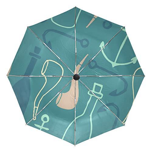 Mr.Lucien Pipe Wine Pattern Automatic Umbrella Rain Sun Windproof Strong UV Protection Folding Umbrella -
