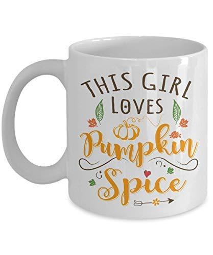 Pumpkin Spice Coffee Mug By Halloween Pumpkin Ceramic Mugs Cup This Girl Loves Pumpkin Spice Best Halloween Birthday Gift For Tea Coffee Lover Dad White Ceramic]()