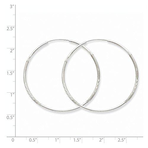 14K White Gold Diamond Cut 41mm Round Endless Hoop Earrings