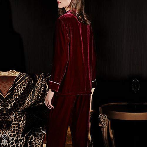 Invierno E Largos Terciopelo Pantalones Superior Piezas Pijamas Burgundy Gruesa Seda Mujer De Hogar Otoño Dos Inferior Traje Para Servicio 7q1w01T