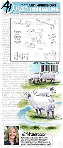 Art Impressions WC5070 Bible Journaling Watercolor Rubber Stamps-Good Shepherd