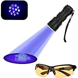 UV Flashlight, SGM 21 Ultravilot Urine Detector for dogs, Pet Stain Detector, Dog Urine Remover, Bed Bug Detector with UV Sunglasses For Eye Safety - Satisfaction Guranteed!