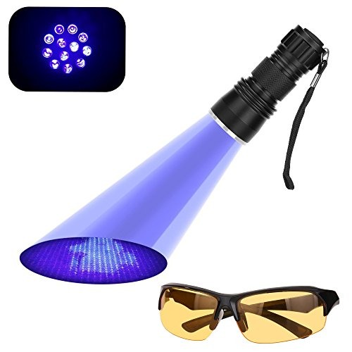 UV Flashlight, SGM 21 Ultravilot Urine Detector for dogs, Pet Stain Detector, Dog Urine Remover, Bed Bug Detector with UV Sunglasses For Eye Safety - Satisfaction - Sunglasses Best Compare