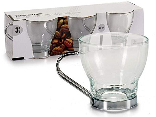 takestop Set 3/Cups 20/cl Cups Caffe Caffe in Glass with Handle Steel Mug Cup Tumbler Glasses espressino Bar