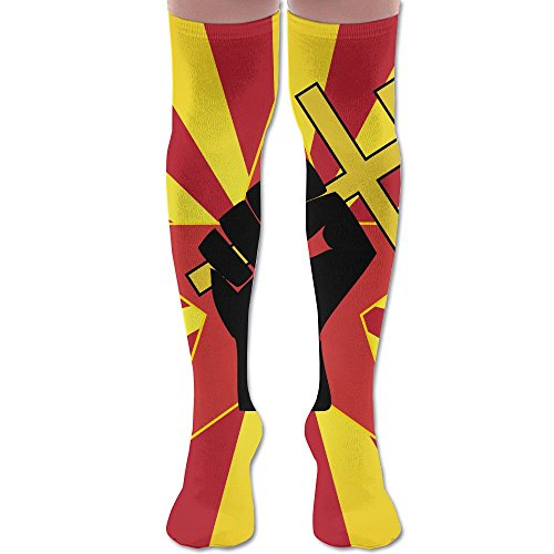 Revolution Clipart Fist Polyester Cotton Over Knee Leg High Socks Fitted Unisex Thigh Stockings Cosplay Boot Long Tube Socks For Sports Gym Yoga Hiking Cycling Running ()