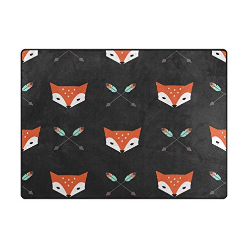 Area Rug Carpet Floor Mat, Foxes and Arrows Super Soft Non-Slip Floor Rugs Nursery Play Mat Yoga Pads for Women Kids Toddlers Home Decor 5'x7' ()