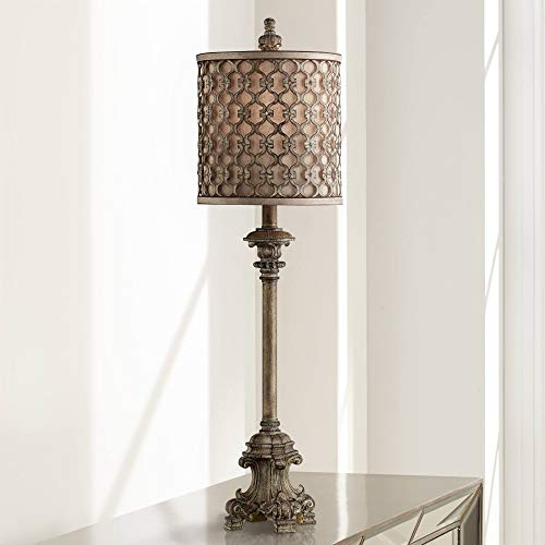 French Buffet Table Lamp Beige Scroll Metal Lattice Candlestick Framed Cylinder Shade for Dining Room - Regency Hill (Lamps Lamp Buffet For Shades)