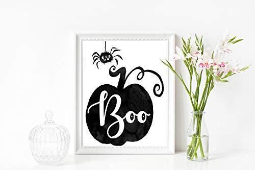 Arvier Halloween Printable Boo Pumpkin Spider Autumn Art Fall Home Decor Inspirational Art Print Printable Home Art Fall Quotes ()