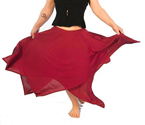 Dress Like A Pirate Brand Two Layer 8 Point Crinkle Gauze Gypsy Skirt (O/S, (Crinkle Gauze Skirt)