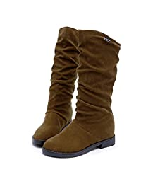 Yuxikong Women's Slouchy Faux Leather Knee HIgh Flat Flock Shoes Snow Boots