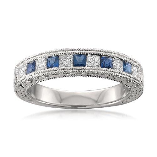 - 14k White Gold Princess-cut Diamond & Sapphire Vintage-Style Wedding Band Ring (3/4 cttw, I-J, I1-I2), Size 6.5