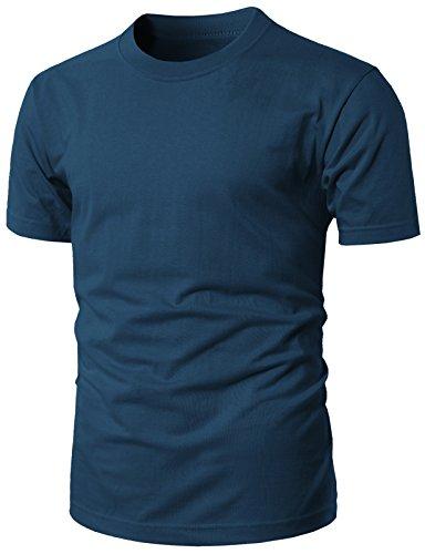 H2H Men V-Neck Round Neck Urbane Short Sleeve Raglan Fitted T-Shirts Darkblue US L/Asia XL - V Blue Round